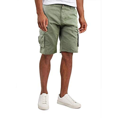 Girogama Bermuda Uomo Shorts Multitasche Lino Cotone Pantaloni Corti 8177