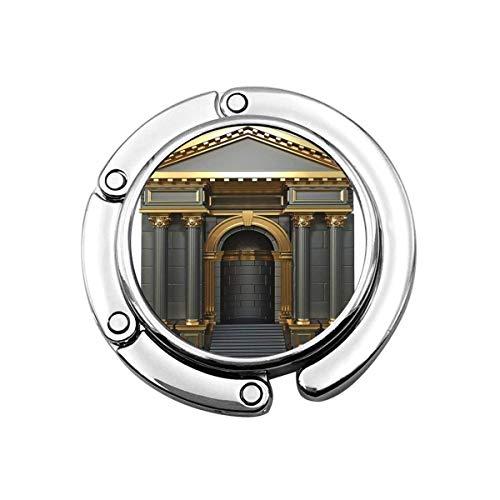 Perchero Monedero Plegable Lindo Gancho Monedero Edificio de mármol Arco Negro con columnas corintias 3D Render Oro Tradicional