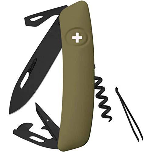SWIZA Unisex– Erwachsene Schweizer Messer D03 AB Olive, Schwarz, 17cm