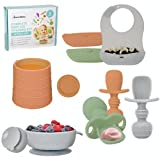 Baby Led Weaning Feeding Supplies for Toddlers - UpwardBaby Baby Feeding Set - Suction Silicone Baby Bowl - Self Eating Utensils Set with Spoons, Bibs, Cups - Dishwasher-Safe Infant Food Plate Kit