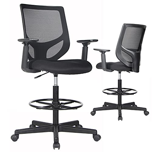 Drafting Chair, Tall Office Chair, Ergonomic Mesh Office Chair, Computer Table Task Chairs with Adjustable Armrests and Foot-Ring for Standing Desk