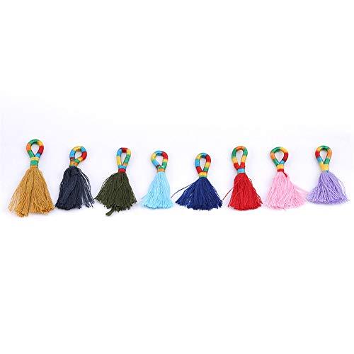 Ellepigy - Anillo de 8 Colores Hecho a Mano con Borla y Nudos de Seda para Colgar en el Bolso, decoración