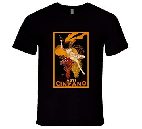 N/N Asti Cinzano Vintage Art Poster Camiseta Art Decó, Art Decó, Póster de Cinzano Italiano Negro Negro ( 3XL