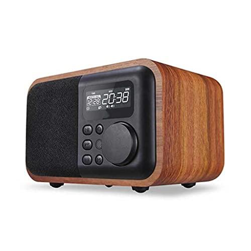 RYSF Kabelloser tragbarer Bluetooth-Lautsprecher aus Holz, Subwoofer mit FM-Radiowecker, Fernbedienungslautsprecher