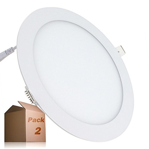 LEDUNI ® Pack de 2 Unidades Downlight Placa Panel LED Redondo 20W Circular 2000LM Color Blanco Frío 6000K Angulo 120 IP40 OPAL Aluminio 225*12Hmm Dimension de corte 205mm