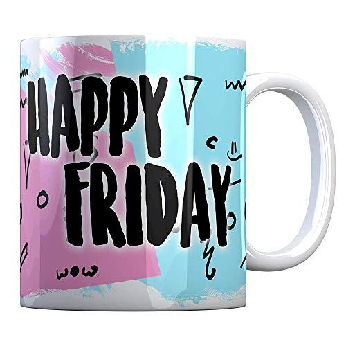 Tassenbude Kaffee-Tasse mit lustigem Spruch Happy Friday Wochenende Kaffeetasse Becher Spülmaschinenfest