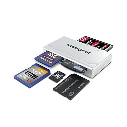 Integral Multi card reader USB 2.0 - Adaptateur de lecteur de carte mémoire tout-en-un, argenté