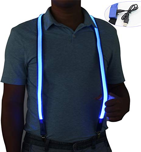 Light Up LED Suspenders USB Rechargeable,Extra Bright for Party Concert Night Club,Novelty Glowing Suspender Braces (Blue)