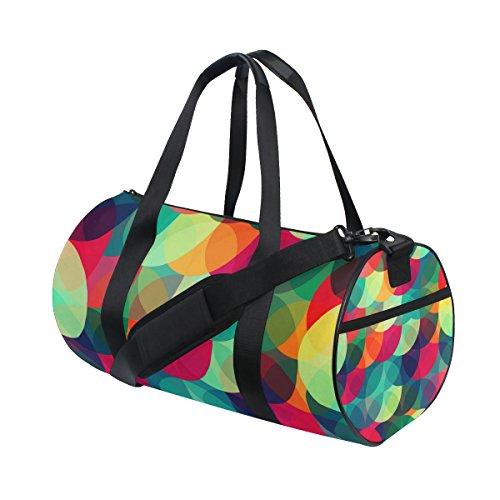 MyDaily Sporttasche für Damen und Herren, bunte Kreise, Vintage, Reisetasche