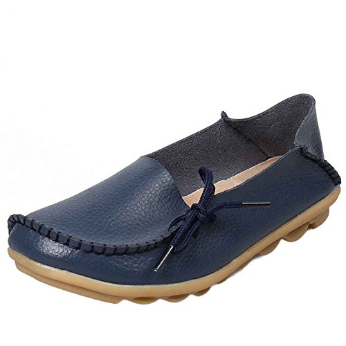 Women's Casual Leather Shoes Loafers Peas Shoes Nurse Shoes Soft Bottom Low Cut Flat Shoes Dark Blue