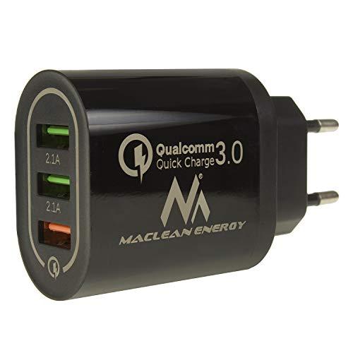 Maclean MCE479 QC 3.0 Cargador USB Universal 3xUSB Adaptador de Carga Fuente de Alimentación Adaptador 1x Carga Rápida 3.6-6V / 3A 6-9V / 2A 9-12V / 1.5 2X 5V / 2.1A (Negro)