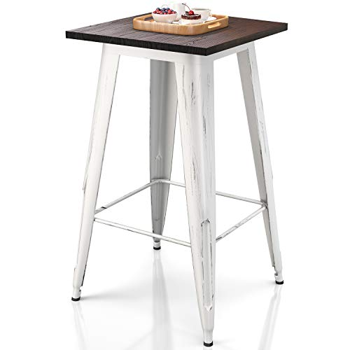 VIPEK Heavy-Duty Bar Table with Solid Wood Top Metal Table 23.6' Square 41.3' High for Bistro Bar Cafe Restaurant Kitchen Dining Table Patio Table Farmhouse Industrial Style, Distressed White Color