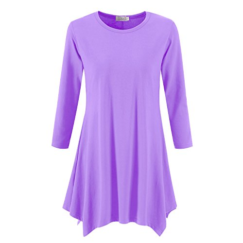 Topdress Women's Swing Tunic Tops 3/4 Sleeve Loose T-Shirt Dress Lavender L