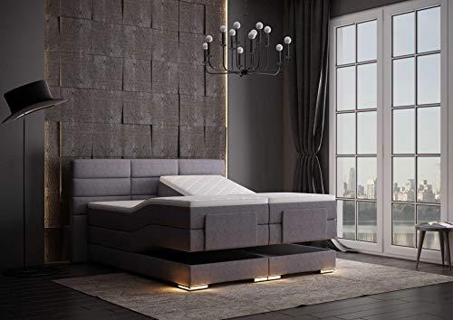HG Royal Estates GmbH Roma Designer Boxspringbett elektrisch inkl. LED-Beleuchtung, Kaltschaum Topper, Bonellfederkernmatratze, H3, Grau Stoff Größe 160 x 200 cm