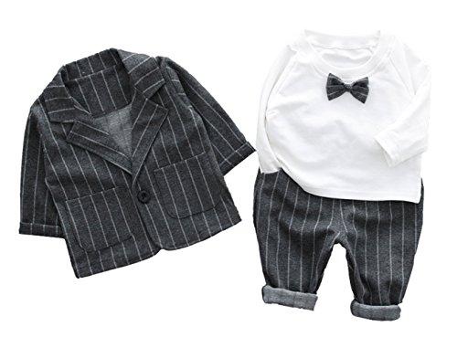 Cloudkids ベビー キッズ フォーマル スーツ 長袖 シャツ ジャケット ズボン 3点セット 子供服 赤ちゃん 男の子 洋服 紳士服 結婚式 入園式 グレー ストライプ 70cm