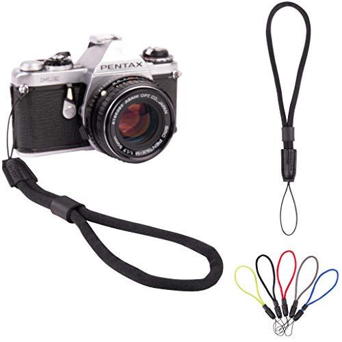 Lens-Aid Handschlaufe aus Stabiler Schnur für Kamera: Runder Kameragurt fürs Handgelenk geeignet für Canon, Nikon, Sony, Fujifilm, Olympus, Pentax, Leica etc. (schwarz)