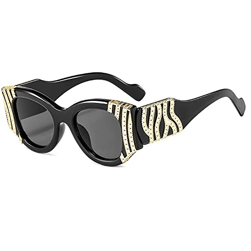 Hanpiyignstyj Gafas De Sol, Gafas de Sol de Ojos de Gato Retro Metal de Mujer Marco Grande Gafas de Sol Mujeres (Lenses Color : Black)