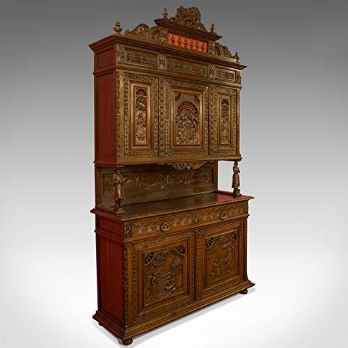 Antico Intagliato Breton Buffet Cabinet, Francese, Credenza, Quercia, Circa 1880