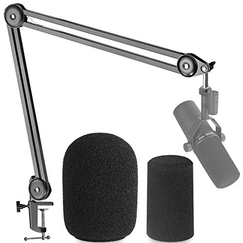 Shure SM7B Boom Arm with Pop Filter - Suspension Boom Scissor Arm Stand for Shure SM7B Microphone with 2 Types Windscreen by YOUSHARES
