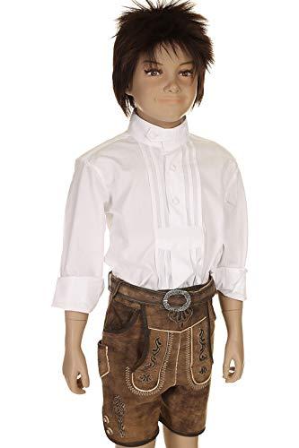 Isar-Trachten Kinder Lederhose kurz Trachtenlederhose Jungen mit Gürtel Ziegenveloursleder 51827 braun Gr.122