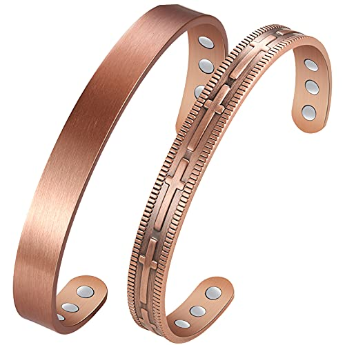 Magnetic Copper Bracelet for Women Men Healing Arthritis Pain Relief, 2Pcs 99.99% Pure Copper Magnetic Therapy Bracelets with Strength Magnets, Cross Cuff Bangle for Religious Confirmation Gifts