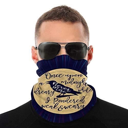 Unisex Bufanda Facial,Gótico Edgar Allan PoE El Cuervo Literario Sombreros Unisex Pañuelo De Cabeza Lavable Cuello Bufanda para Pesca Caza Cámping