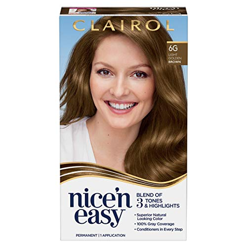 Clairol Nice'n Easy Permanent Hair Color, 6G Light Golden Brown, Pack of 1