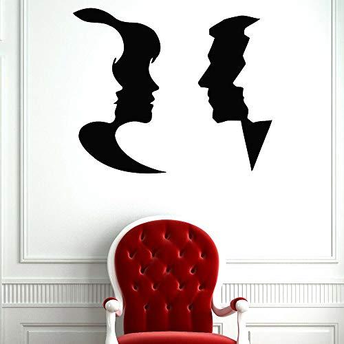 Amistad pegatinas de pared decoración del hogar sala de estar hombres y mujeres cara tatuajes de pared mural decoración de la habitación pegatinas de puerta