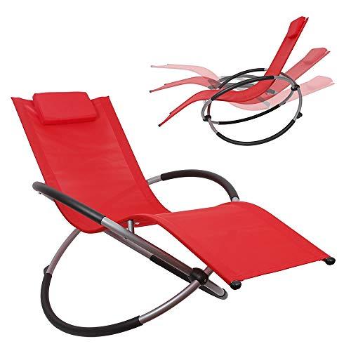 Melko Schaukelliege Liegestuhl klappbar 200kg Schwingliege Rot Gartenliege Sonnenliege Relaxliege - atmungsaktiv, witterungsbeständig und...