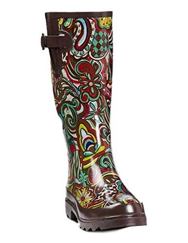 Blazin Roxx Womens Bonnie Funky Floral Rain Boots (Brown/Multi, 7)