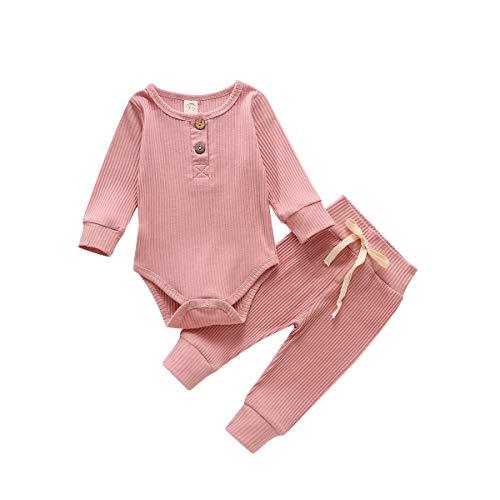 Neugeborene Unisex 2 Stück Baby Kleidung Junge Mädchen Solid Button Bodysuit Strampler Langarm Tops Kordelzug Hosen Strick Outfit (Dunkelrosa, 0-6 Monate)
