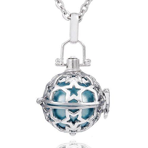 Morella Collar ángel de la Guarda de Acero Inoxidable 70 cm con Colgante Estrella y Bola de resonancia de Color Azul Claro Ø 16 mm para Damas en Bolsa para Joyas