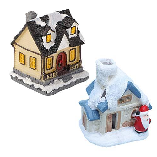 GARNECK 2 Piezas Iluminar Casa de Navidad Mini Casa de Navidad Escena de Navidad Casa de Pueblo con Luz Led Mini Adornos Navideños Decoraciones para Fiestas