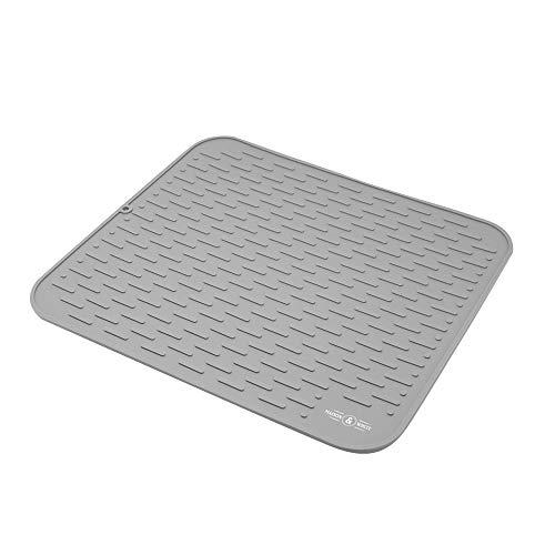 Maison und White Silikonschalenentwässerungsmatte   Rutschfeste Gummitrockenplatte   Wasserdichtes Geschirr- und Utensilien-Abtropfbrett (Grau)