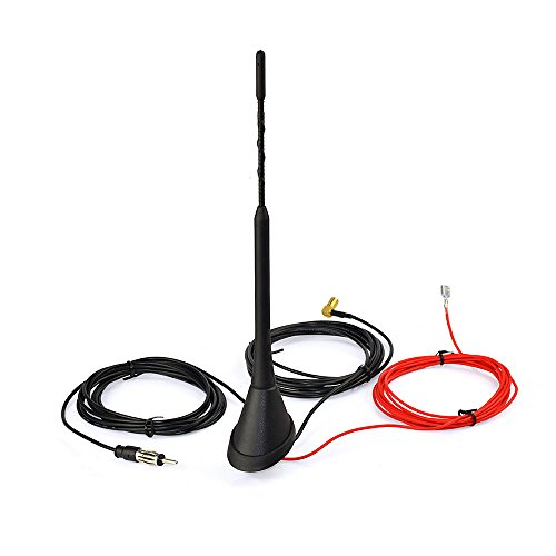 Eightwood Aktive DAB+ Antenne Digital Radio FM/AM Kombi DAB Antenne SMB Stecker DIN Male Adapter Auto Radio Antenne Splitter Fahrzeug Dachmontage Signal Amplifier 500cm 16.4ft Flexible 23cm MEHRWEG