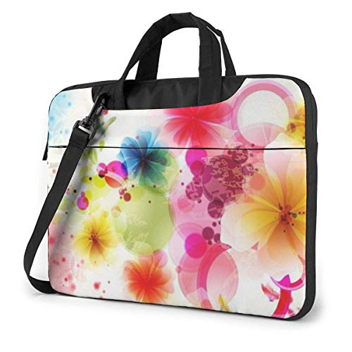 Laptop Shoulder Bag Carrying Laptop Case 14 Inch, Flowers Painting Computer Sleeve Cover with Handle, Business Briefcase Protective Bag for Ultrabook, MacBook, Asus, Samsung, Sony, Notebook