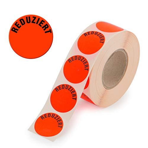 1.000 Aktionsetiketten - Reduziert rund leuchtrot auf Rolle 32 mm - Sonderpreis, reduziert Aufkleber, selbstklebend, permanente Preisschilder [H-RED]