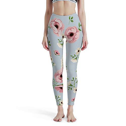 XJJ88 Damen Pflanze Blume Muster Sport Leggings Classics Dünne Yoga-Hose Gym - Enge Leggings Damen