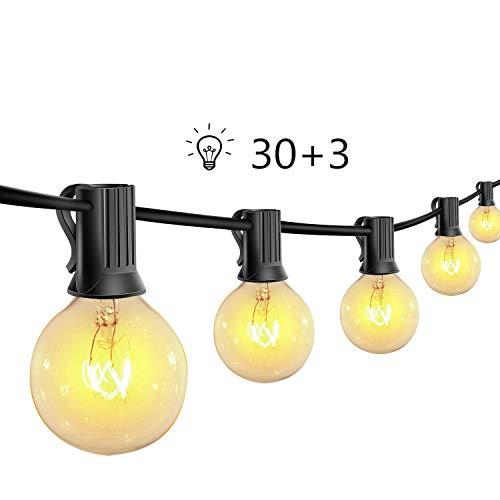 Outdoor Garden String Lights,30Ft G40 Vintage Edison Bulbs 30 Hanging Sockets,Hanging Indoor/Outdoor String Lights for Patio Garden Backyard Bistro Pergola Gazebo Decor (Warm White)…