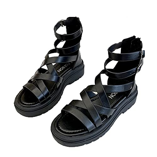 Sandali da donna Breathe Peep Toe Summer Gladiator Beach Shoes Platform Footwear Street Back Zip Leisure Sandali alti