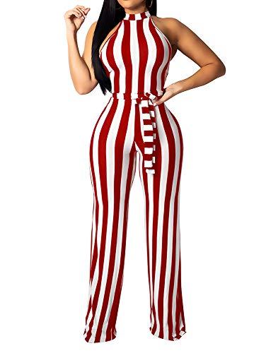 BEAGIMEG Women's Striped Halter High Waist Wide Leg Jumpsuit with Belt Red White