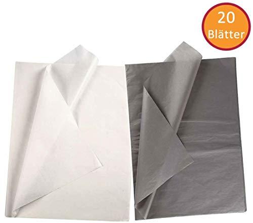 YooKreativ Premium-Qualität Seidenpapier Set, Weiß und Grau, Blatt 50x70 cm. 20 Blätter, Transparentes Seidenpapier zum Basteln und zur Dekoration