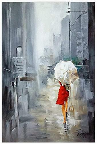 ZHANGFAN Pintura al óleo sobre Lienzo Que representa a una Mujer con un Paraguas - decoración de Pared para Sala de Estar, Dormitorio - 30 x 45 cm - sin Marco