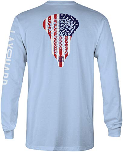 LAX SO HARD Boys American Lacrosse Long Sleeve T-Shirt, Youth Small Light Blue