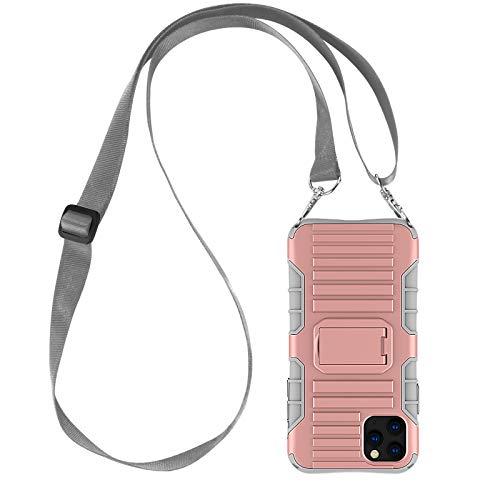 JAMMYLIZARD Cover a Tracolla Compatibile con Apple iPhone 11 PRO Max Custodia Protettiva Rigida Antiurto [Taurus] in Silicone TPU e Polimero, Rosa