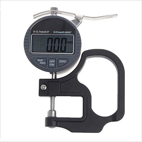 0-12.7mm Micrómetro electrónico Medidor de espesor digital Medidor 0.01mm Probador de profundidad for papel de película Herramienta de medición de espesor de cuero ruler