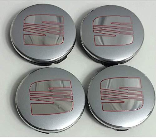 MISSLYY 4 Stück Car Radnabenkappen für Seat Ibiza Leon Cupra Exeo,Auto Abzeichen Logo Nabenabdeckungen Staubdicht Styling Zubehör,55mm