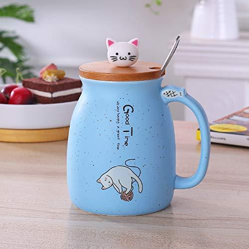 CXL Taza de cerámica Creativa, Cuchara de Acero Inoxidable con Cabeza de Silicona y Tapa de Madera, Regalo Personalizado para Taza Creativa de Estudiante