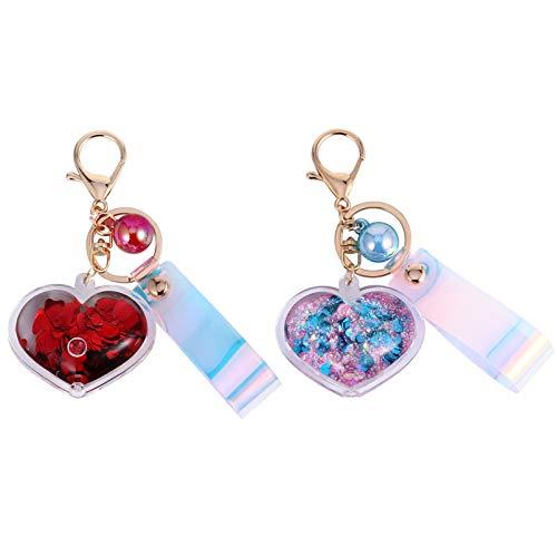 SOIMISS 2 Piezas 1 Set Llavero del Día de San Valentín Brillo Chispa Corazón Amor Bola Imitación Perla Colgante Llavero Goodie Bolsa Rellenos para Adultos Niños Amantes Parejas Rojo