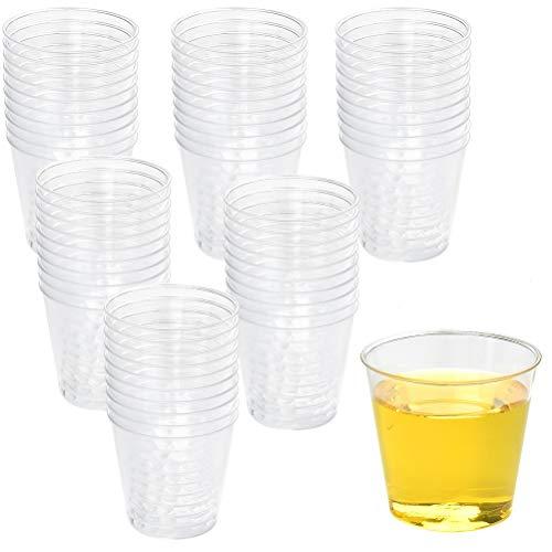 100 bicchieri in plastica trasparente, riutilizzabili, da 30 ml, in plastica, per matrimoni, cene, barbecue, feste, Natale